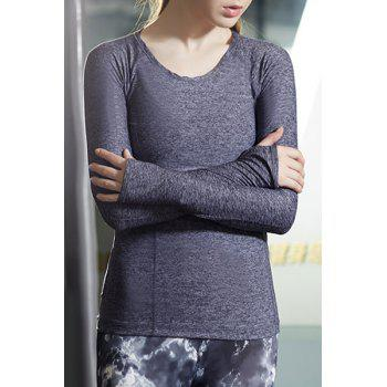 Active Scoop Neck Long Sleeve Solid Color Women's Flex T-Shirt