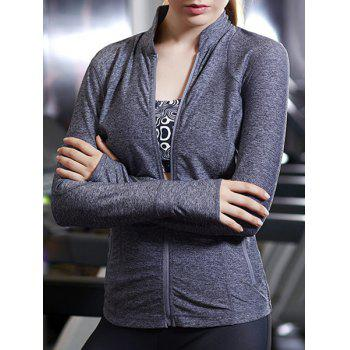 Active Stand-Up Collar Long Sleeve Zip Up Flex Women's Coat - BLUE GRAY S