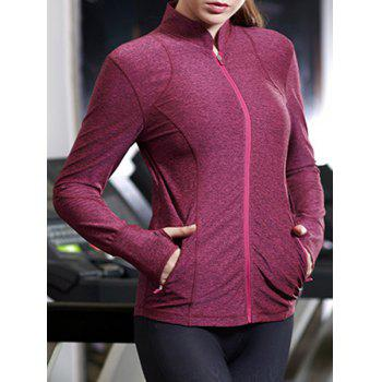 Active Stand-Up Collar Long Sleeve Zip Up Flex Women's Coat - ROSE S