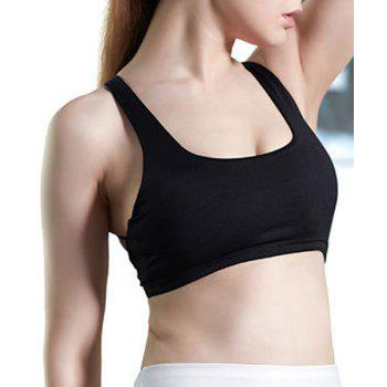 Active U-Neck Sleeveless Criss-Cross Women's Black Sports Bra - BLACK L