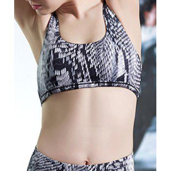 Active U-Neck Sleeveless Criss-Cross Printed Women's Sports Bra - BLACK GREY M