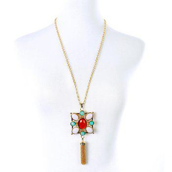 Vintage Faux Gemstone Oval Sweater Chain For Women
