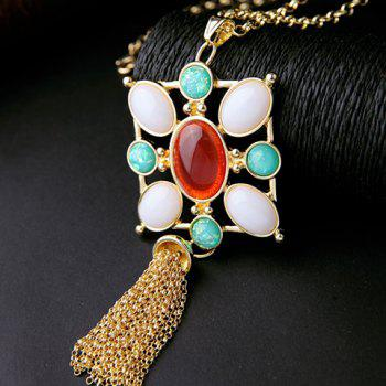 Charming Faux Gemstone Oval Sweater Chain For Women -  GOLDEN