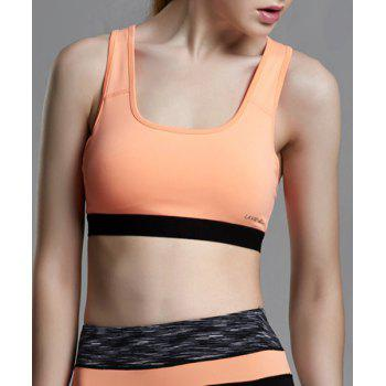 Buy Stylish U-Neck Sleeveless Color Block Racerback Women's Sports Bra ORANGE