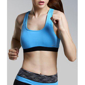 Buy Stylish U-Neck Sleeveless Color Block Racerback Women's Sports Bra BLUE