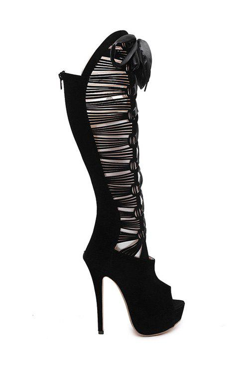 Sexy Hollow Out and Peep Toe Design High Heel Boots For Women - BLACK 39