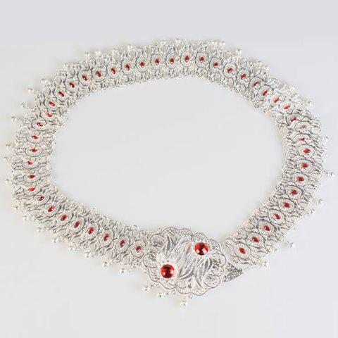 Chic Faux Ruby and Pendant Embellished Women's Alloy Waistband - SILVER