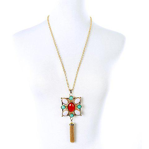 Vintage Faux Gemstone Oval Sweater Chain For WomenJewelry<br><br><br>Color: GOLDEN