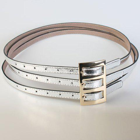 Chic Pin Buckle Three Layered Women's PU Belt