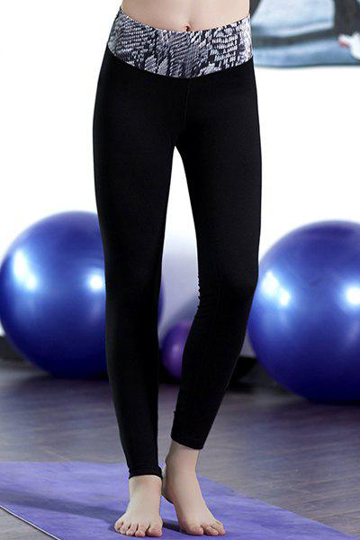 Active High-Waisted Slimming Printed Women's Ninth Yoga Pants - BLACK M