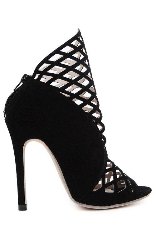 Trendy Hollow Out and Peep Toe Design Ankle Boots For Women - BLACK 40