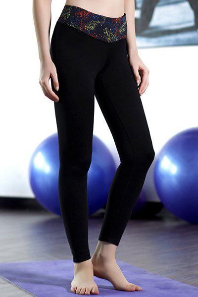 Active Elastic Waist Flocking Printed Women's Ninth Yoga Pants