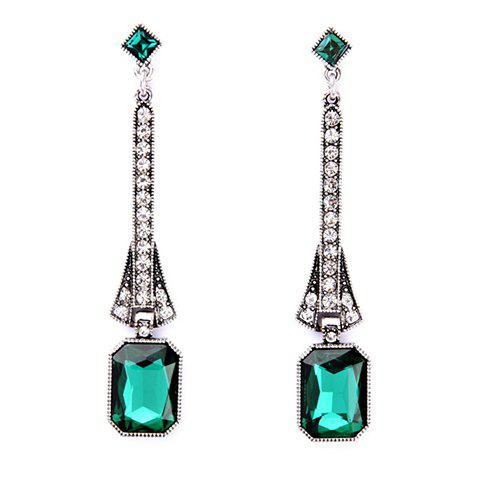 Pair of Rhinestoned Faux Turquoise Geometric Earrings - GREEN