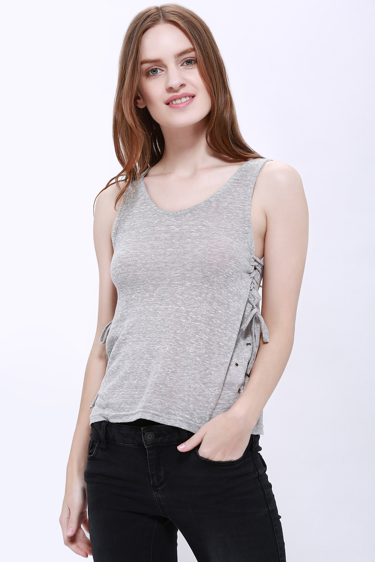 Stylish V-Neck Sleeveless Solid Color Lace-Up Women's Tank Top - GRAY XL