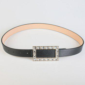 Chic Rhinestone Rhombus Shape Embellished Women's PU Belt
