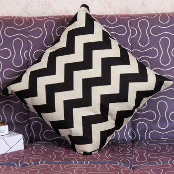 High Quality Stripe Pattern Square Shape Synthesis of Linen Pillow Case(Without Pillow Inner) - WHITE/BLACK