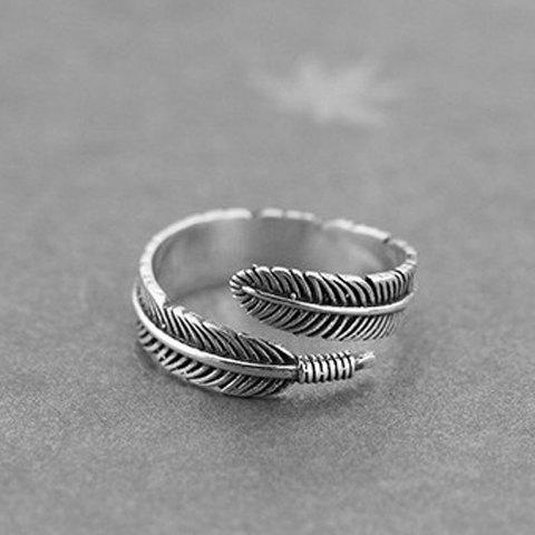 Feather Shape Cuff Ring - SILVER ONE-SIZE