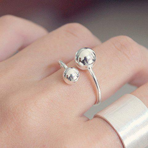 Trendy Solid Color Mirror Side Asymmetric Ball Shape Cuff Ring For Women - SILVER ONE-SIZE