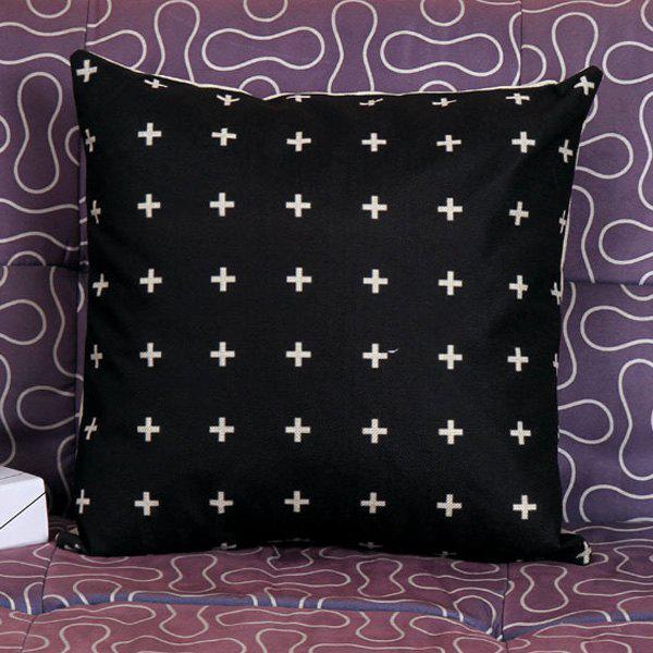 High Quality Plus Sign Pattern Square Shape Synthesis of Linen Pillow Case(Without Pillow Inner) - WHITE/BLACK