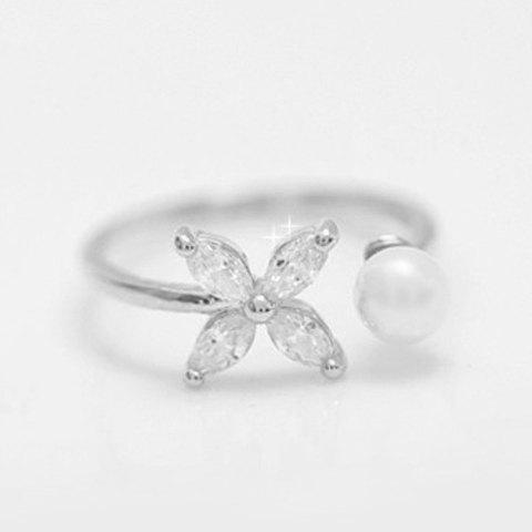 Flower Faux Pearl Rhinestone Cuff Ring - WHITE GOLDEN ONE-SIZE