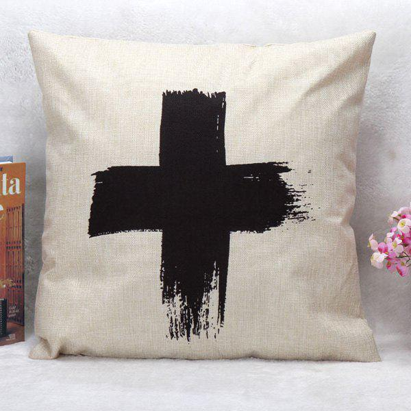 High Quality Cross Pattern Square Shape Synthesis of Linen Pillow Case(Without Pillow Inner) - WHITE/BLACK