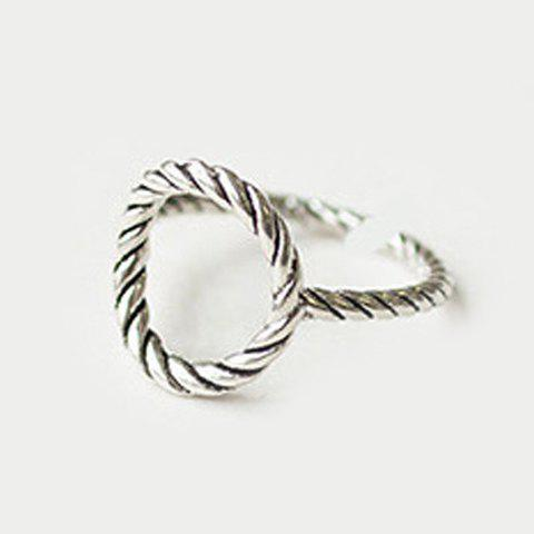 Chic Solid Color Hollow Out Round Shape Ring For Women - SILVER ONE-SIZE