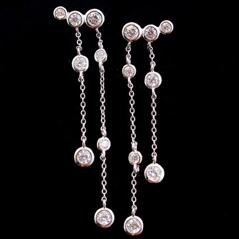 Pair of Chic Rhinestone Decorated Tassel Drop Earrings For Women - SILVER