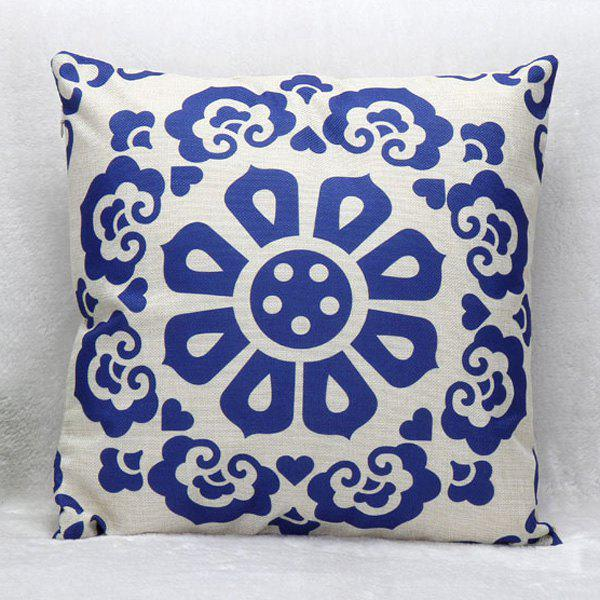 High Quality Flower Pattern Square Shape Synthesis of Linen Pillow Case(Without Pillow Inner)