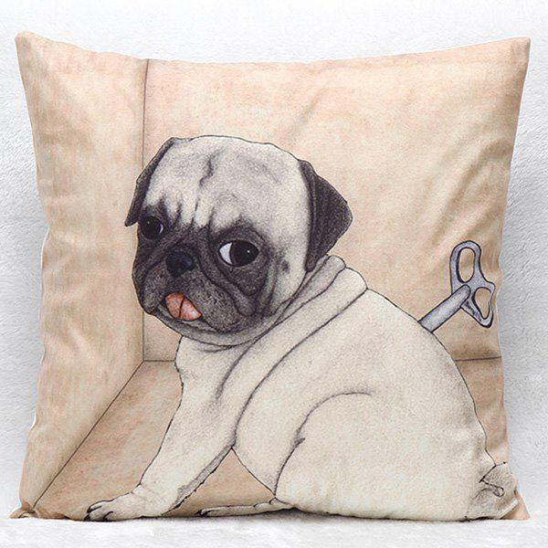 High Quality Clockwork Puppy Pattern Square Shape Synthesis of Linen Pillow Case(Without Pillow Inner) - COLORMIX