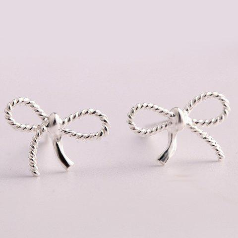 Pair of Chic Solid Color Hollow Out Bowknot Shape Stud Earrings For Women - SILVER