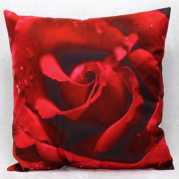 High Quality 3D Rose Pattern Square Shape Synthesis of Linen Pillow Case(Without Pillow Inner) - RED