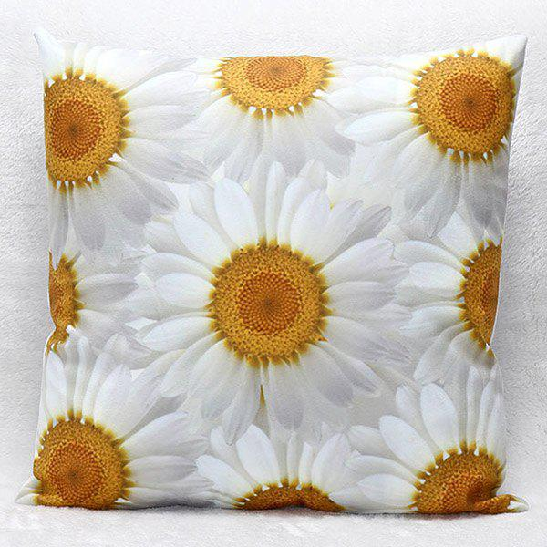 High Quality 3D Daisy Pattern Square Shape Synthesis of Linen Pillow Case(Without Pillow Inner) - COLORMIX