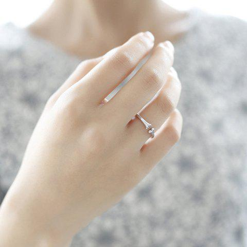 Chic Solid Color Bone Shape Cuff Ring For Women - SILVER ONE-SIZE