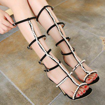 Fashion Faux Pearl and Buckles Design Sandals For Women - BLACK 38