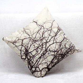 High Quality Branch Pattern Square Shape Pillow Case(Without Pillow Inner) - WHITE/BLACK