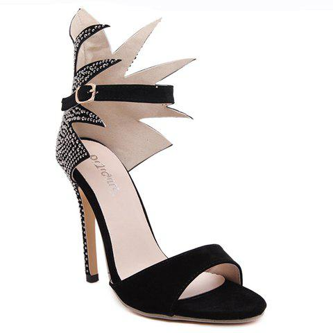 Stylish Rhinestones and Black Design Sandals For Women - BLACK 38