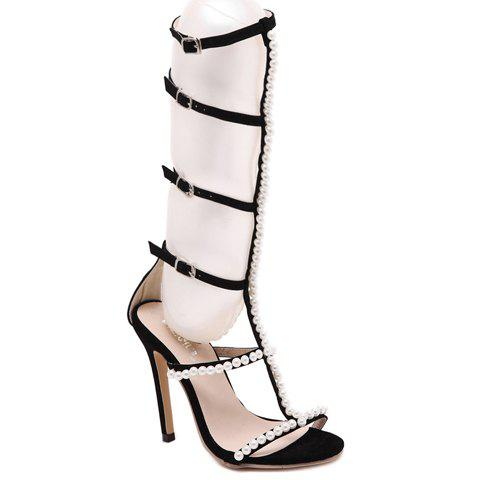 Fashion Faux Pearl and Buckles Design Sandals For Women - BLACK 39