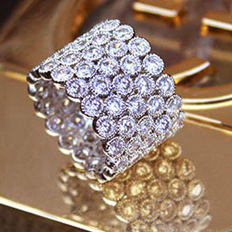 Delicate Rhinestoned Multi-Layered Chunky Ring For Women - WHITE GOLDEN ONE-SIZE