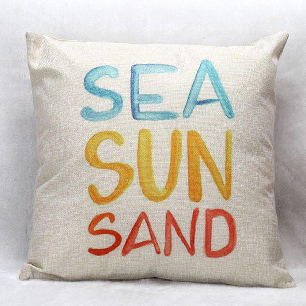 High Quality Colorful Letter Pattern Square Shape Pillow Case(Without Pillow Inner) - COLORMIX