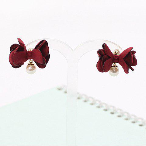 Pair of Faux Pearl Bowknot Lace Shape Stud Earrings - WINE RED