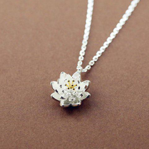 Lotus Flower Shape Pendant Necklace - SILVER