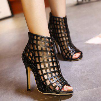 Trendy Hollow Out and PU Leather Design Pumps For Women - 37 37