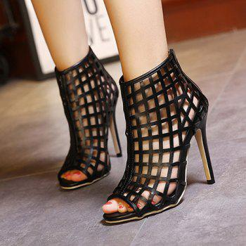 Trendy Hollow Out and PU Leather Design Pumps For Women - 39 39