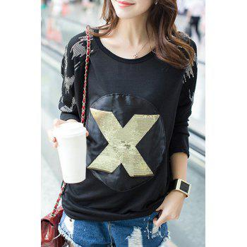 Casual Women's Scoop Neck Long Sleeve Sequins Letter Pattern T-Shirt