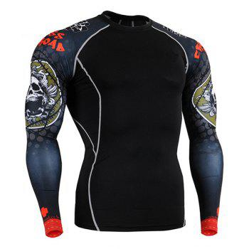 Hot Sale Round Neck 3D Skulls Print Long Sleeves Men's Sweat Dry Tight T-Shirt