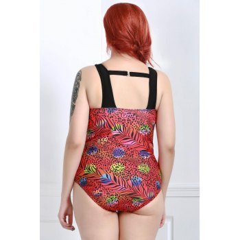 Sexy Round Neck Cut Out Leopard Print Plus Size One-Piece Women's Swimwear - RED 3XL