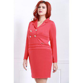 Graceful Red Lapel Long Sleeve Dress For Women - RED 2XL