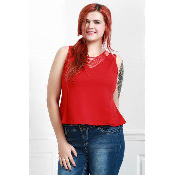 Sexy Scoop Neck manches Volants See-Through Blouse des femmes - Rouge 3XL