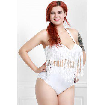 Plus Size High Waisted Bikini With Fringe Top - WHITE WHITE
