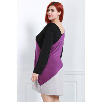 Stylish V-Neck Long Sleeve Plus Size Color Block Women's Dress - COLORMIX 3XL